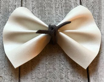 bow barrette, fabric bow, toddler barrette, toddler clip, newborn bow, baby girl headband, baby girl clip, grey bow, faux leather, white bow
