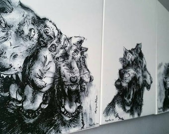 "Large Canvas Print, ""Cursed Wolf"" black and white art reproduction"