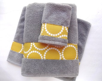 Pick Your Size Towel, yellow and grey towels, gray and yellow. bathroom, towel sets, hand towels, yellow and grey bathroom, bath decor,