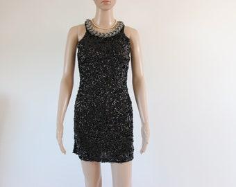 Vintage Sequin Black Dress