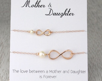 Mother's Day Gift Set, Mother & Daughter Infinity Pearl Bracelets, Rose Gold Infinity Bracelet, Bridal Gift, Mother of the Bride Gift,