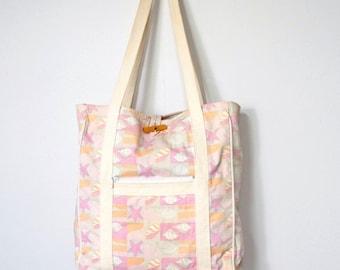 Vintage Bag Tote Market Beach Bag Beach Shells and Starfish Pink Fabric Bag