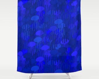 Blue Shower Curtain Jellyfish Decor Ocean Bathroom Sea Cobalt Fish Beach Nautical