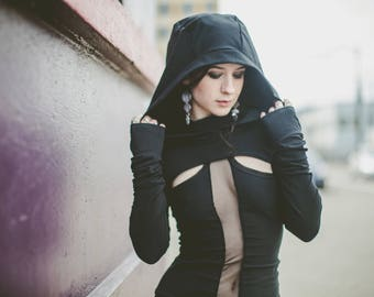 PATH Shrug - Made to Order - Large Hood, Extra Long Sleeves, Thumb Holes - Cotton Lycra - Color Options