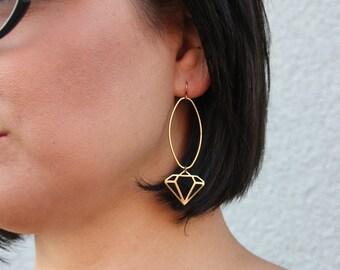 The Millenial Diamond Earring in Antiqued Brass