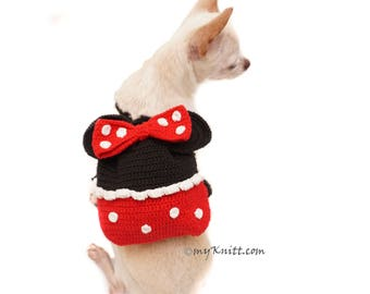 Minnie Mouse Dog Bag, Crochet Dog Bag Travel, Funny Dog Backpack, Amigurumi Minnie Mouse Pet Tote DC2 Myknitt - Free Shipping