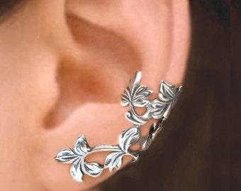 Spring Leaf ear cuffs Sterling Silver earrings Sterling silver ear cuff ear clip flower ear cuff jewelry handmade C-219200 DD