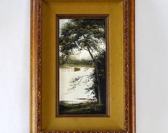 Vintage Patti Rock Landscape Oil Painting