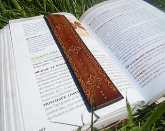 Bookmark, leather, Brown, flowers