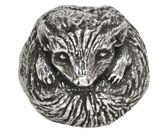 Green Girl Hedgehog 9/16 inch ( 14 mm ) Pewter Bead Antique Silver Color
