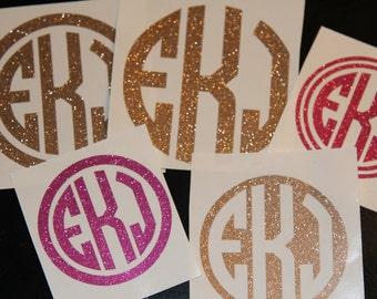 Glitter Circle Monogram Decal