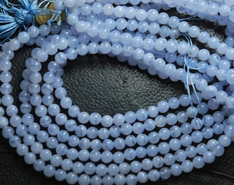 16 Inches, Holly Blue White Natural German Chalcedony Smooth Polished Round Rondelles, Size 6mm