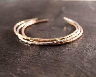 2mm Thick Cuff Bangles (Gold Silver Rose Gold Bracelet Bridesmaid Wedding Gift for Her Gifts Under 50 Adjustable bracelet)