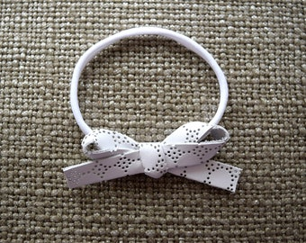 White LARGE EYELET Leather Bow One Size Fits All Elastic Blessing Baptism Photo Prop for Newborn Baby Little Girl Child Headwrap Pretty Bow