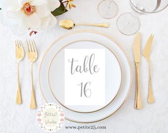 Gray Table Numbers 1-30, Printable Wedding Table Numbers, Wedding Table Decor, 5x7 Table Number Card, Instant Download