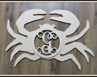 """Crab Door Hanger with Monogram Letter - Unpainted Wood - 22"""" size - Kitchen or Entryway Decor - Wall Hanging - Beach Life - Sea - River Life"""