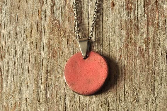 MEDIUM glossy coral round stoneware pendant