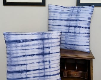 Shibori Hand Dyed Pillow Cover Decorative Pillow Cover Throw Pillow Cover