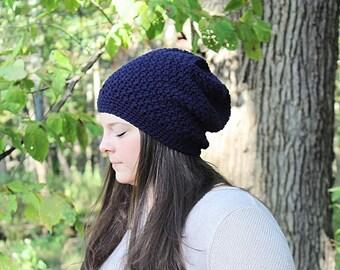 Dark Blue Slouchy Hat, Blue Slouchy Beanie, Dark Blue Beanie, Dark Blue Hat, Blue Crochet Hat,  Blue Winter Hat, Blue Women's Hat,THE DENALI