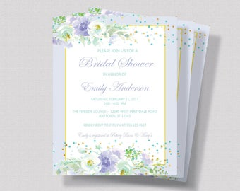 BRIDAL SHOWER INVITATION Lavender and Mint Floral with Gold Glitter, Watercolor Floral Bridal Shower Invitation Shabby Chic Bridal Shower