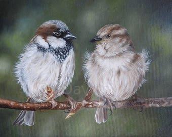 Sparrow Print, Bird fine art print, Bird Painting, Sparrow Artwork, Bird Art, Sparrow Art