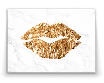 SOLID KISS Lips in gold look print (not foil) - Wall Art Print Poster Canvas