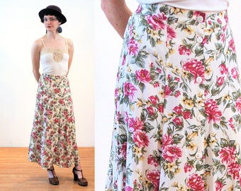 90s Floral Midi Skirt S, Boho Soft Rayon Pink White Green Flower Print Button Up Vintage Long Skirt, Small