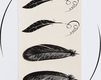 A Board of temporary tattoos, feathers, 5.5 cm