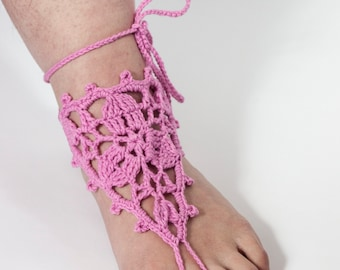 Pink Barefoot Sandal, Feet thongs, Crochet Foot jewelry, Women's Fashion Accessory Nude shoes, Gift for her,  summer trends