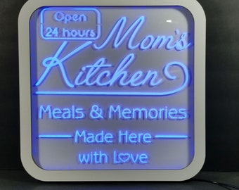 Mom's Kitchen Acrylic LED RGB  Sign Wall Sign Neon Like Sign Color Changing Remote Control 15 x 15 inches Made In USA Free Shipping
