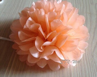12x Peach mini tissue paper pom pom | Wedding Baby shower Party Engagement Bridal Shower Table Centerpiece Hanging Decoration