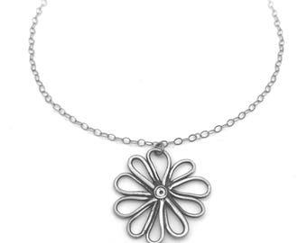 Silver Flower Necklace | Fun Flower Pendant | Botanical Jewelry | Nature Jewelry | Flower Jewelry | Spring Jewelry | Nature Lover Jewelry