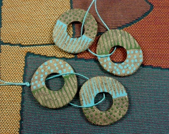 One PAIR of Ceramic Stoneware Spirit Hole Disc Beads, Reversible with Patterning on Each Side, Jewelry Components & Essential Oil Carriers