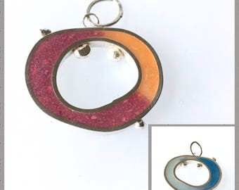 Ombre Open Circle Pendant Silver Resin Slide Wonky Shape Colorful