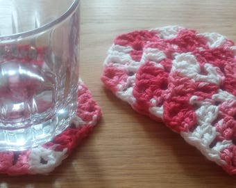 Pink White Valentines Coasters, Set of 4