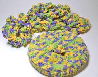 Ewigkeit Schal Slouch Mütze sperrige Schleife OOAK häkeln Allergie frei Poly Garn Baby weich lila, warmes Gelb, grün