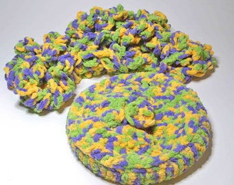 Eternity Scarf  Beret slouch hat Bulky Loop OOAK crochet allergy free poly yarn baby soft purple, warm yellow, green
