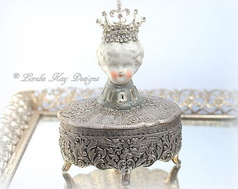 The Queen's Jewels Doll Head Jewelry Box Frozen Charlotte  One-of-a-Kind Miniature Frozen Charlotte Ring Box Jewelry Casket