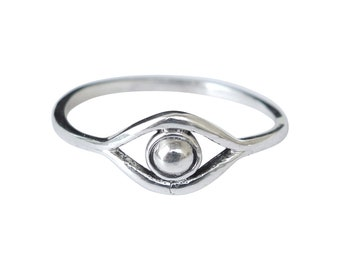 Sterling Silver Ring, Sterling Silver Evil Eye Ring, Protection Ring, Dainty Ring, Band Ring, Spiritual Ring, Stacking Ring, Gift for Her