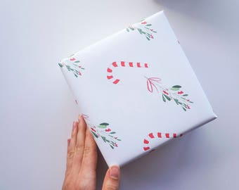 Candy Cane and Mistletoe - Wrapping Paper - Christmas