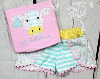 Girls Cow Shirt-Floral Cow Shirt- Farm Shirt- Toddler Girls- floral Shorts- Farm Cow Birthday-Baby Girl- 6m, 12m, 18m, 2t, 3t, 4, 5, 6 8