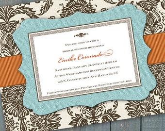 bridal shower invitations, aqua bridal shower invitations, baby shower invitations, aqua chocolate bridal shower invitations