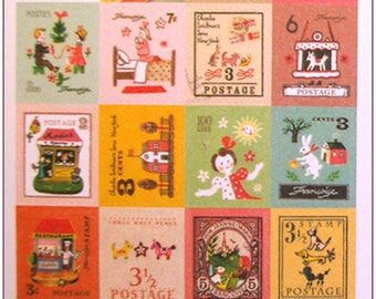 """Stamp sticker stickers for scrapbooking retro vintage """"model 3"""" 1 embroidery sheet of 20 stamps"""