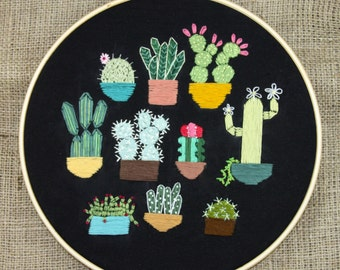 Embroidery hoop, Cactus, Cacti, Succulents, modern embroidery, plants, desert, wall decor, home decor, plant mama
