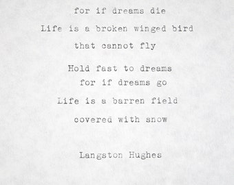 Typed Quotes Langston Hughes Poem Typewriter Quotes Typed Paper Typewriter Poetry Typed on paper Hand typed poem Dream Quote