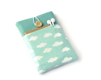 Kindle Paperwhite Cover, Kindle Voyage Case, Kindle Cover, Gift for Her, Kindle Oasis Sleeve  - Aqua Clouds