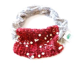 Boho Spring Infinity Scarf - Artisan Scarves for Women -  BoxerKnits Polished Gypsy Infinity Scarf - Art Yarn Scarf - Daisy Scarf