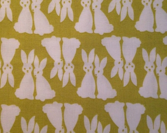 Rabbits on Lime Green Background, Pacific by Elizabeth Hartman for Robert Kaufman, 100% Cotton