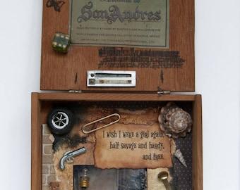 Cigar Box Assemblage - Assemblage Art - Vintage
