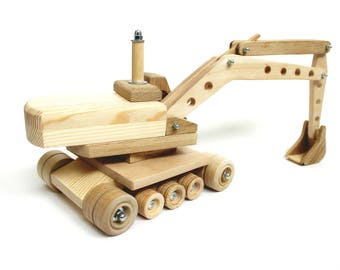Wood truck loader Montessori wooden toy for boys Kids excavator model Organic learning toy Educational eco friendly toy Original design gift